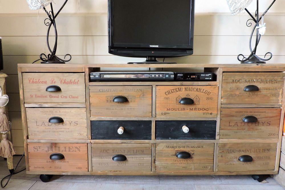 meuble tv casier de vins en 2019 mobilier fait maison. Black Bedroom Furniture Sets. Home Design Ideas