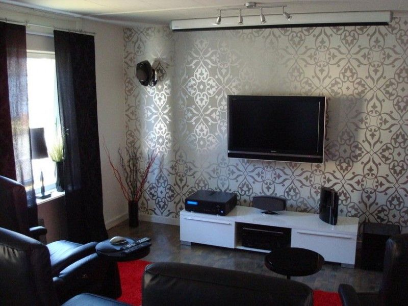 Delightful Wallpaper Room Design Ideas Part - 7: Decoration, White Silver Combine Motive Wall Tv Room Decorating Ideas With  White Cabinet And Wall Mount Lcd Tv Dark Sofa Color On Grey Flooring Color  Black ...