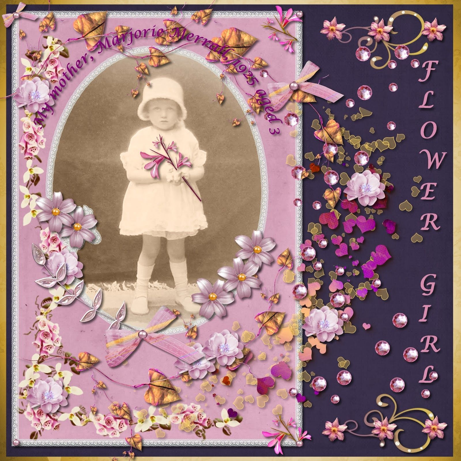 Flower Girl. Digital scrapbook layout by Melissa Lawrence. Created using A Mother's Love digikit from Kreative Designs by Karen.
