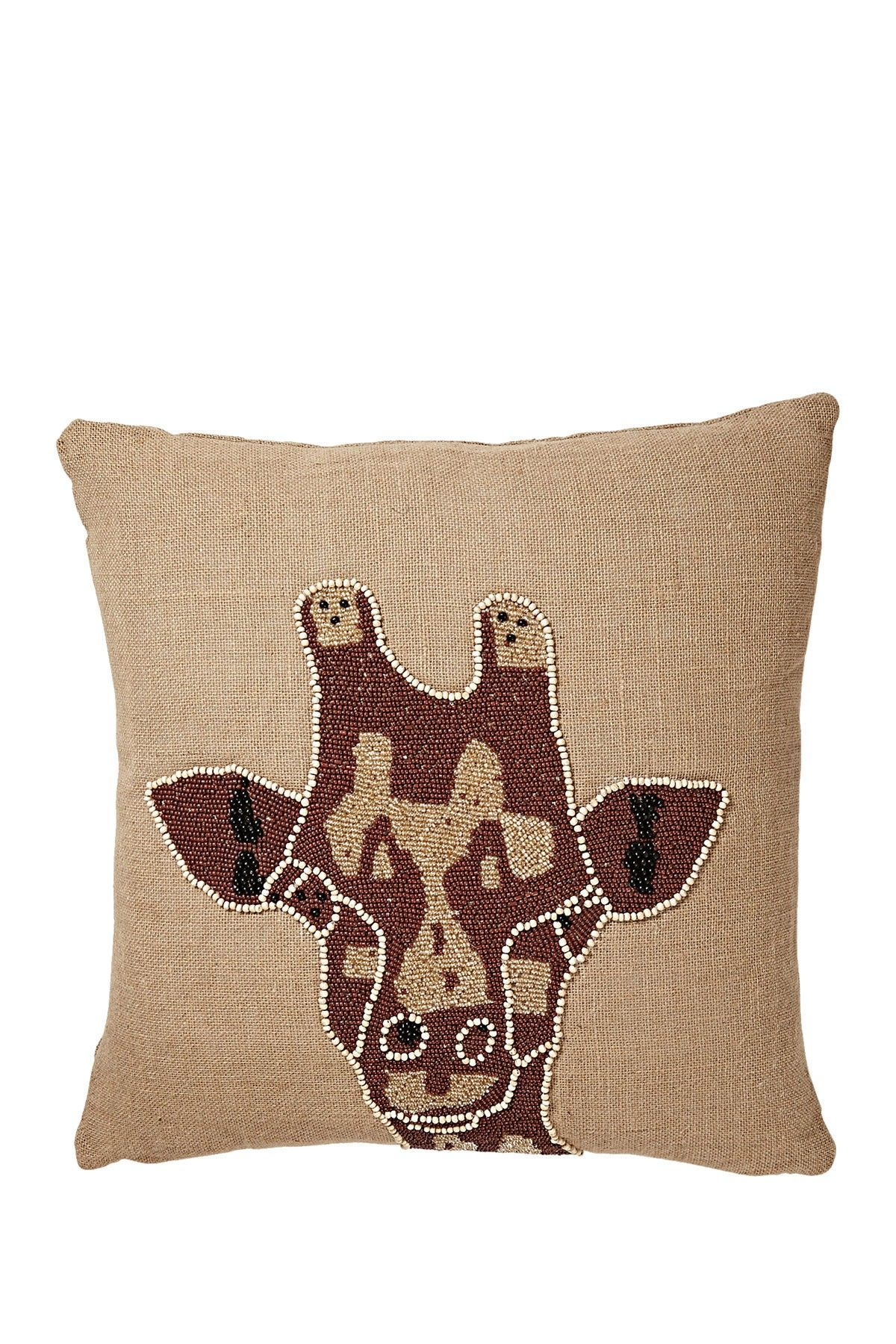 "Nairobi Brown Giraffe Head 2 Self Welt Jute Pillow - 20"" x 20"" on HauteLook  (Thro Home)"