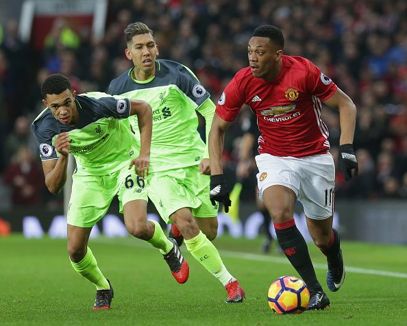 Anthony Martial Of Manchester United In Action With Trent Alexanderarnold Of Liverpool During The Premier Le Manchester United Liverpool Premier League Matches