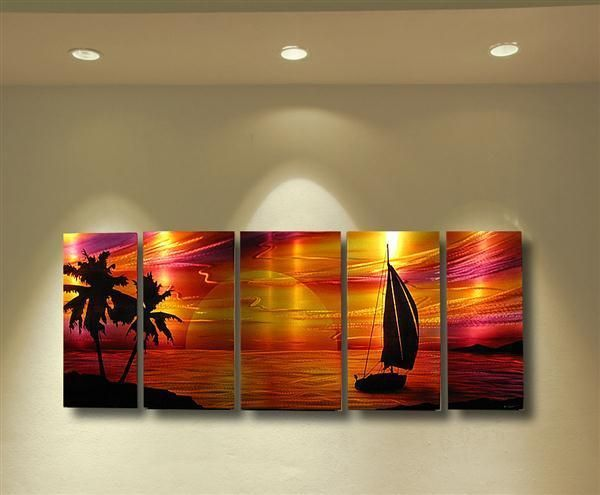 Abstract Metal Wall Art Painting Sculpture Tropical Beach Modern ...