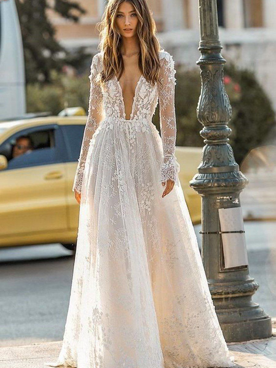 Lace Ball Gown FloorLength VNeck Garden/Outdoor Wedding