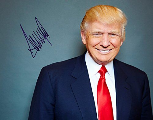 President Donald Trump Adorable Biggest Smile You'll See Red Tie Autographed Signed Preprint 11x14 Poster Photo