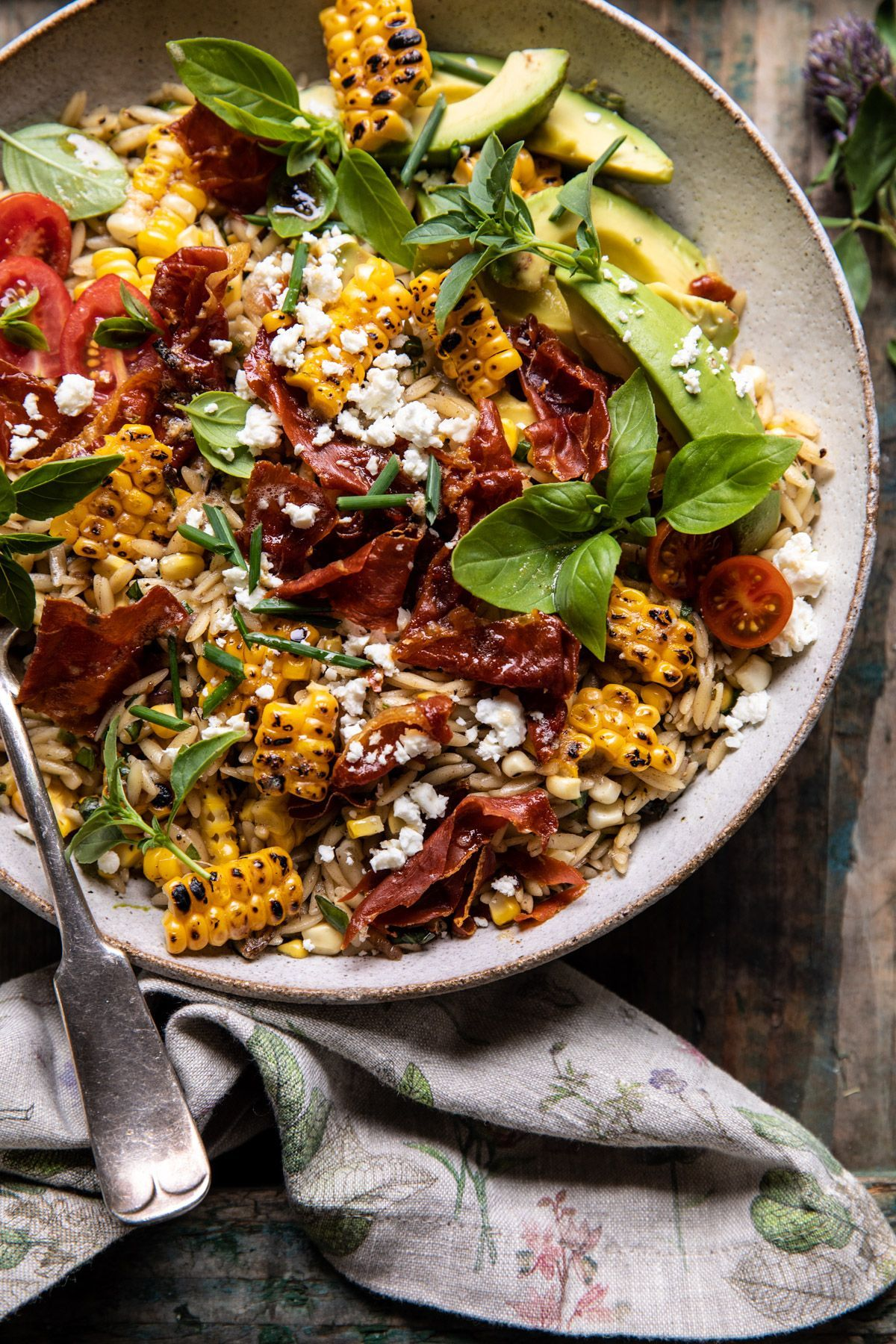 Photo of Brown Butter Corn and Feta Orzo with Crispy Prosciutto | halfbakedharvest.com