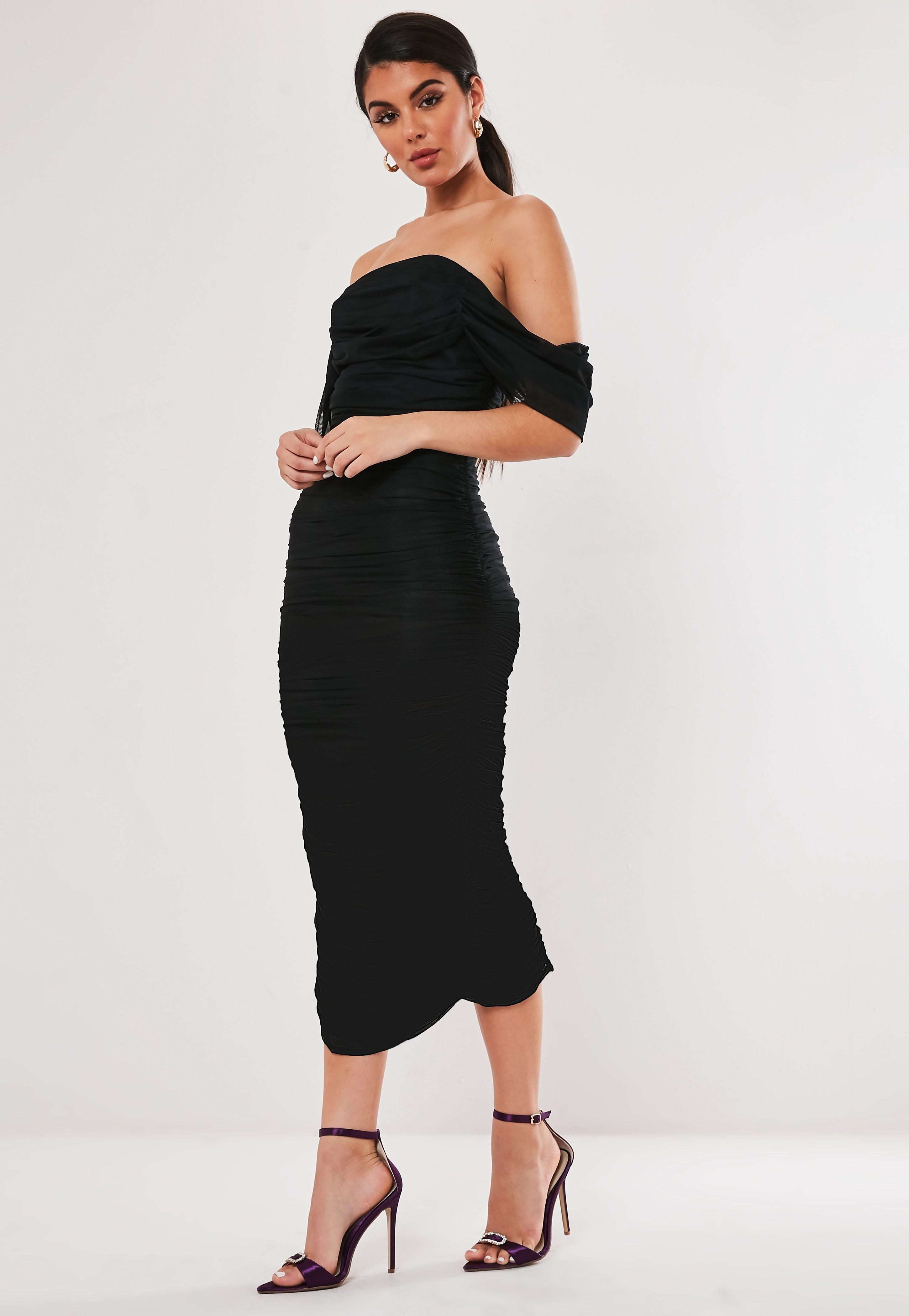 Black mesh ruched bardot midi dress sponsored ruched