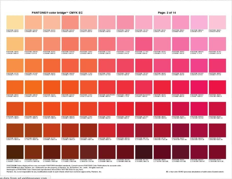This Pantone Color Bridge document on Scribd is really very useful - sample oil filter cross reference chart