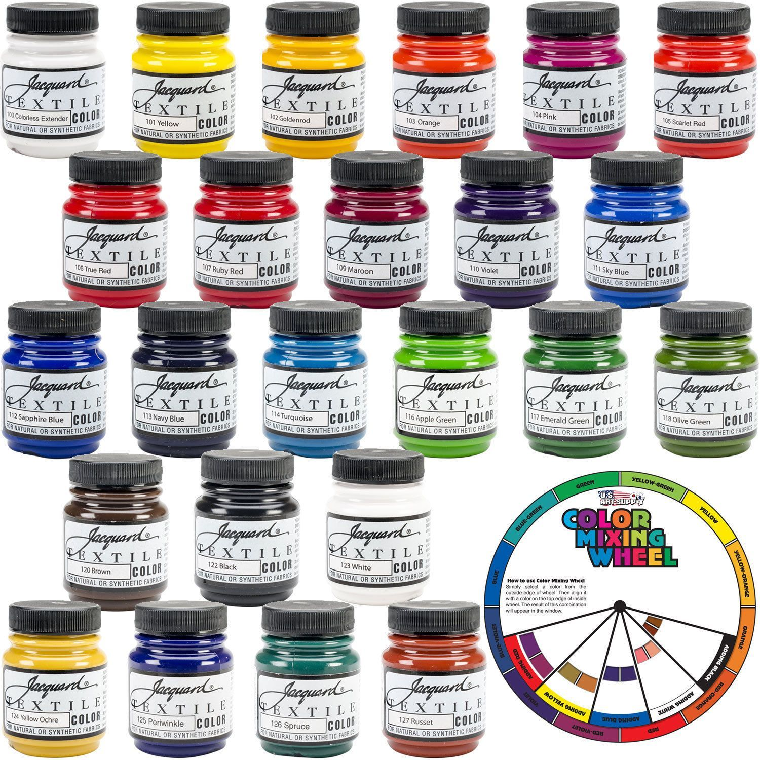 Jacquard Textile Color 24 Assorted Professional Pigment Ink Fabric Paint Set Kit Products Fabric Painting Colour Mixing Wheel Color Mixing