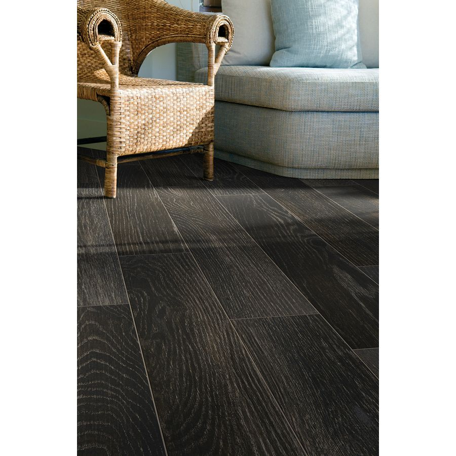 Style Selections Natural Timber Charcoal Wood Look Porcelain Floor And Wall Tile Common 8 In X 48 In Actual 7 72 In X 47 4 In Lowes Com Porcelain Flooring Floor And Wall Tile Wall Tiles