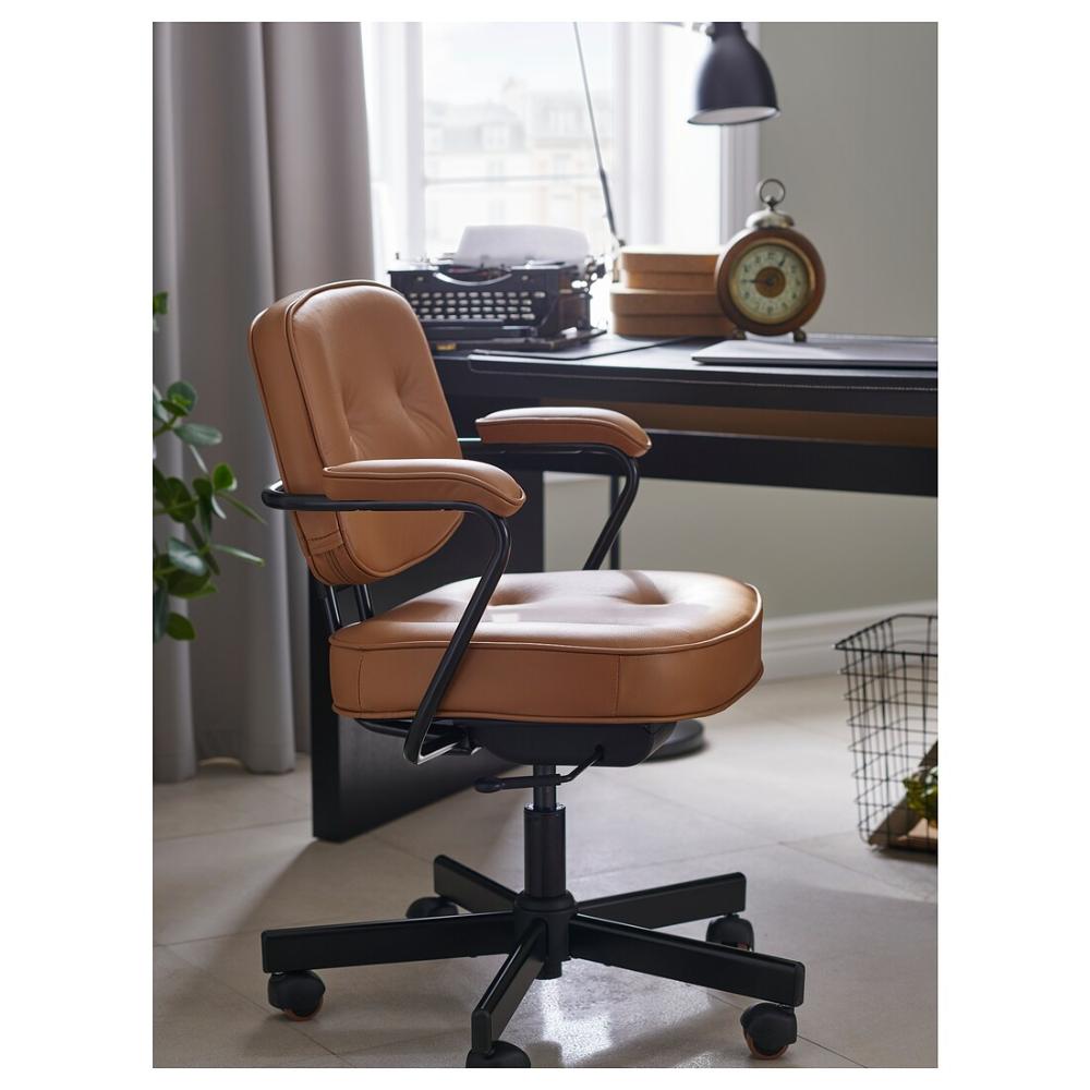Alefjall Office Chair Grann Golden Brown Ikea In 2020 Leather Office Chair Office Chair Makeover Office Chair Design