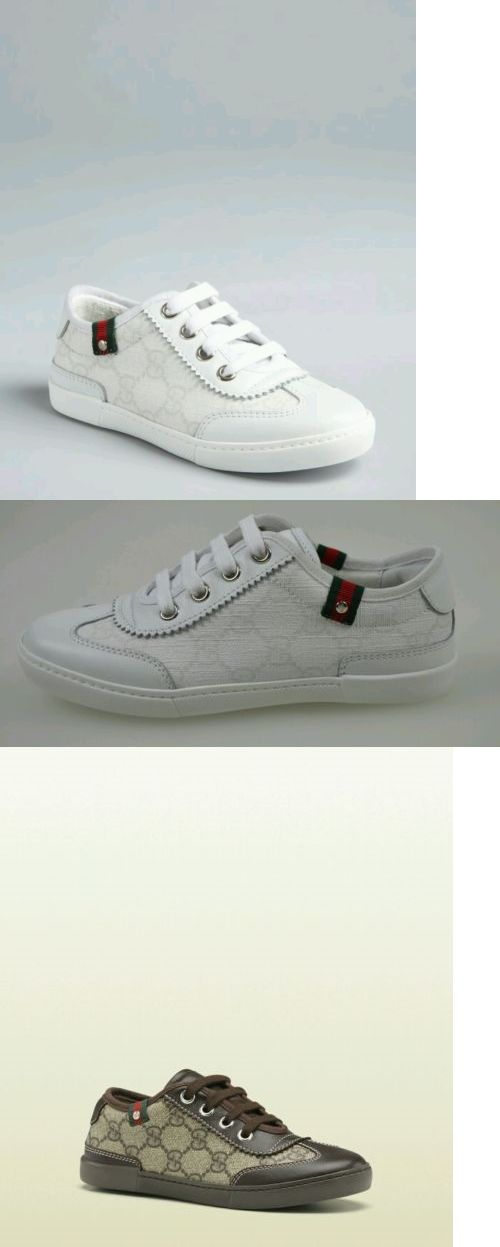 67d48ffecd729 Baby Shoes 147285  Nib New Gucci Girls Boys White Leather Gg Logo Lace Sneakers  Shoes 24 8 285696 -  BUY IT NOW ONLY   139 on eBay!