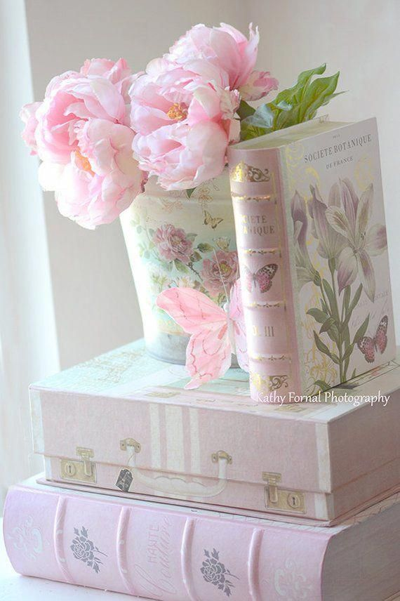 Photo of Pink Peonies Print Dreamy Peonies & Book Shabby Chic Decor