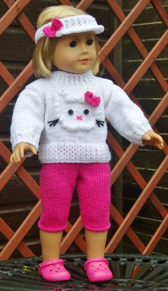 American Girl Doll. 3D Kitten Sweater Set PDF Knitting by jacknits, £2.25