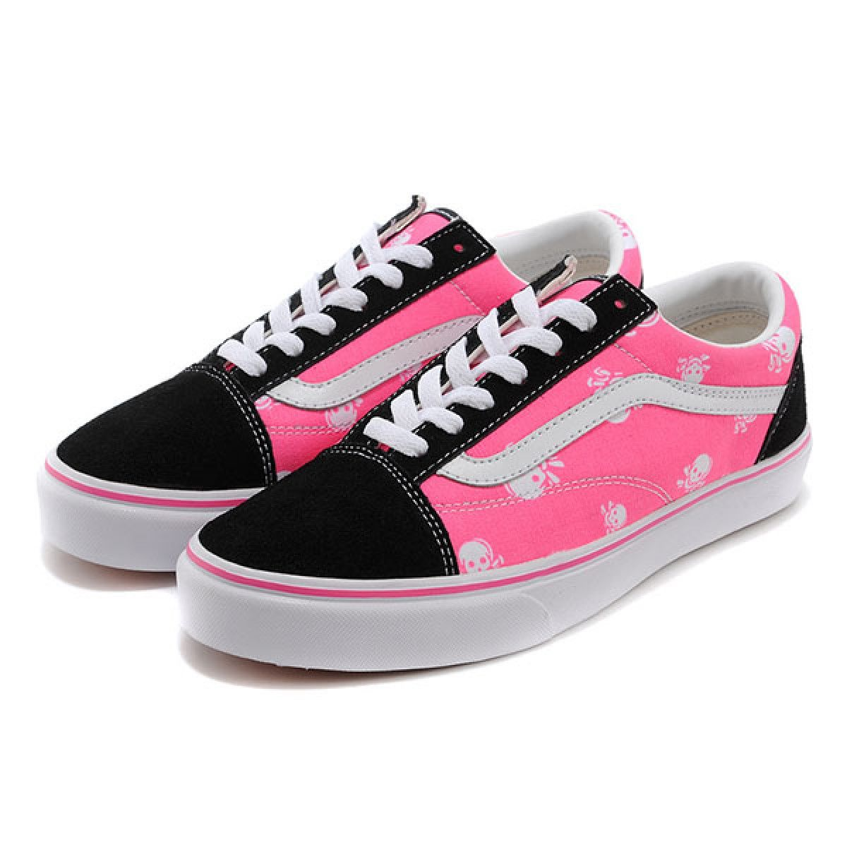 694443066710 Vans Shoes Black Pink Skulls Old Skool Shoes Womens Classic Canvas ...