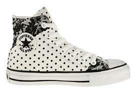 black and white polka dot converse