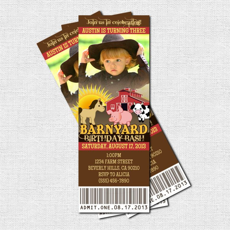 FARM ANIMAL TICKET Invitations Barnyard Birthday Party - (print your ...