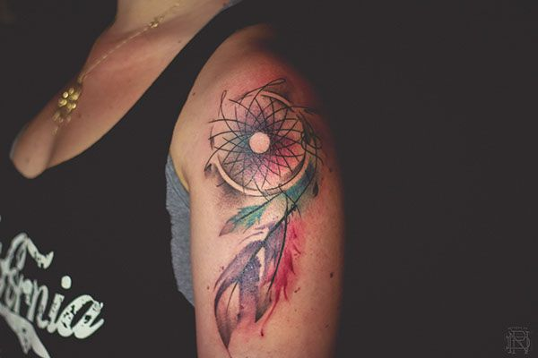Dreamcatcher watercolor tattoo on behance watercolor for Watercolor dreamcatcher tattoo