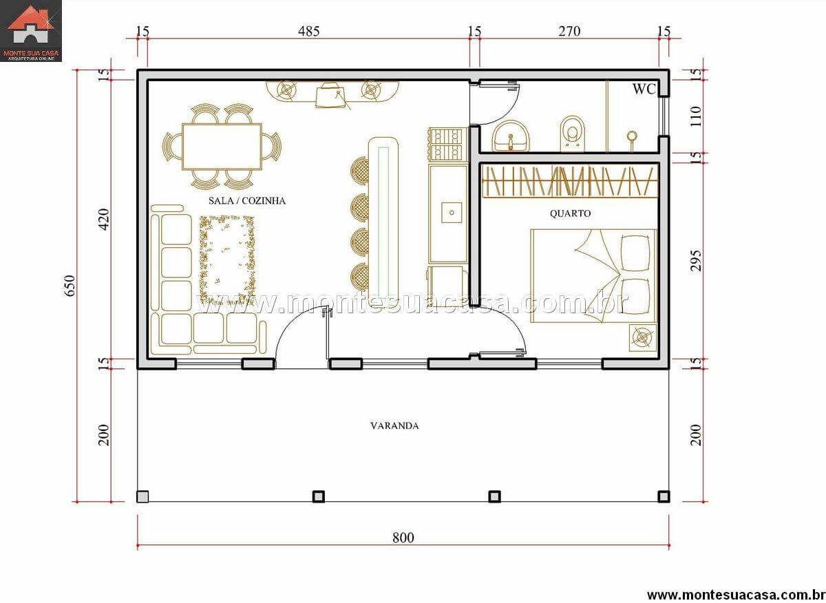 Planta de ed cula simples com dormit rio incluso plantas for Presupuesto pintar piso 80 metros