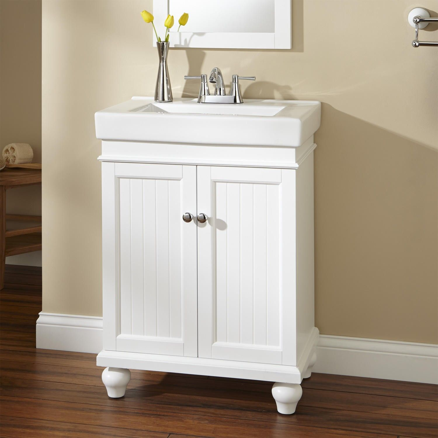 24 lander vanity white vanities powder room and for Powder bathroom vanities