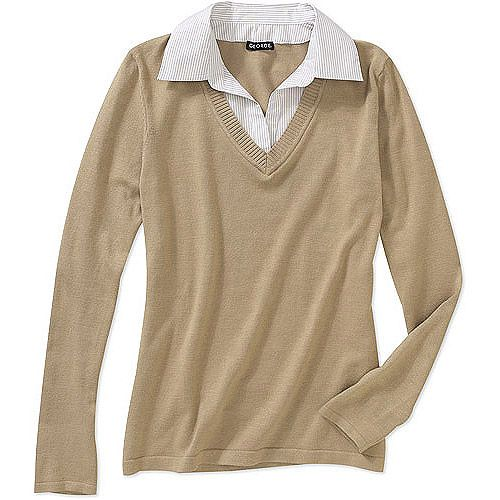 George Career Essentials Women's 2fer Collared Sweater, $13.94 ...