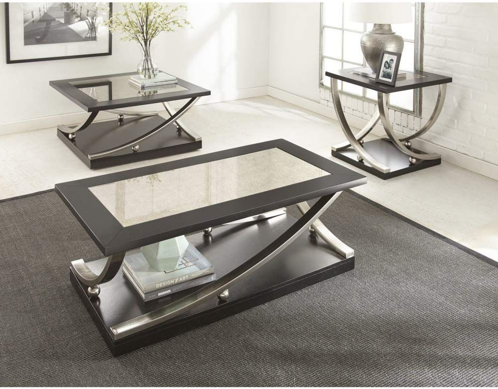 Amazonsmile Steve Silver Ramsey Cocktail Table With Casters Kitchen Dining Square Cocktail Table 3 Piece Coffee Table Set Coffee Table