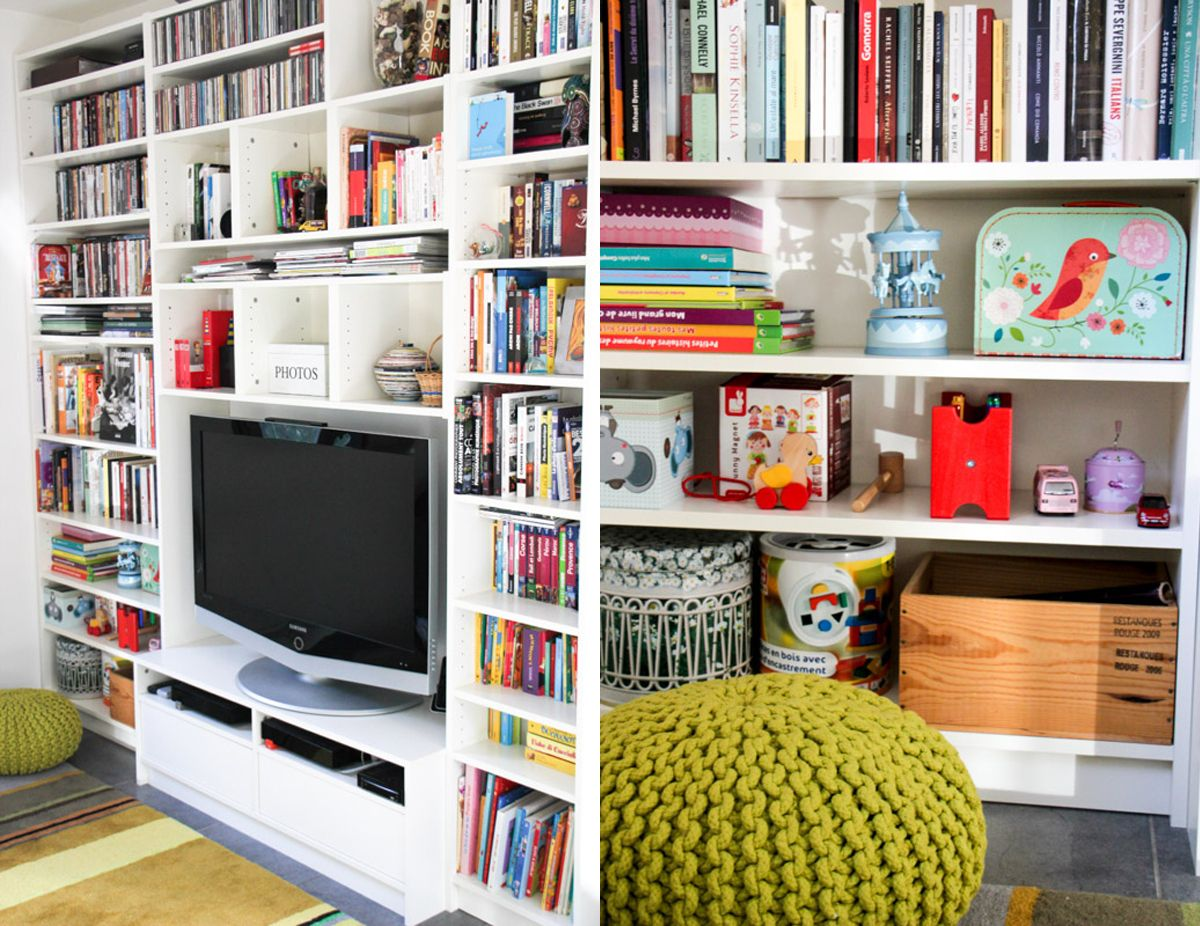 Meuble Tv Bibliothèque Blanc avant- après : notre bibliothèque-meuble télé ikea (# monday