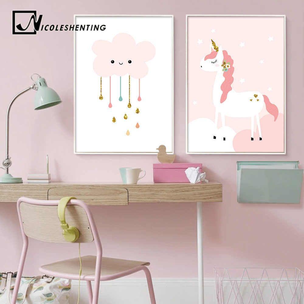 Nursery Wall Art Canvas Painting Cartoon Poster Print Nordic Kids Decoration