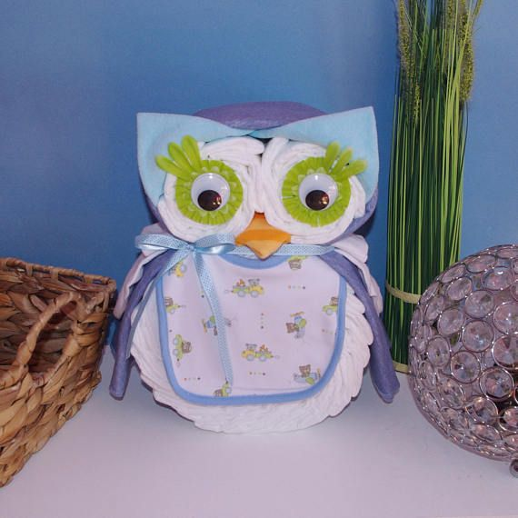 Idee Cadeau Hibou.Blue Turquoise Owl Diaper Cake For A Baby Boy Gift Baby