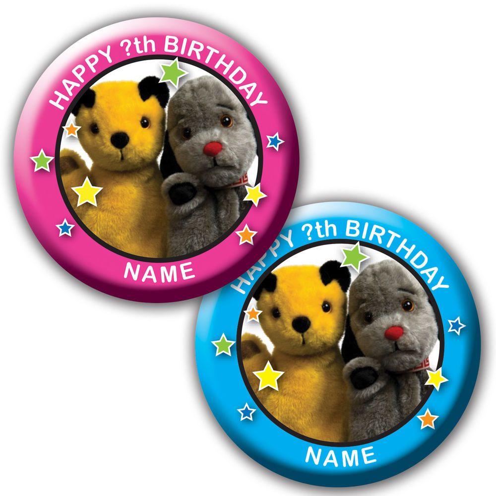 PERSONALISED TEDDY BEAR BIRTHDAY BADGES//FRIDGE MAGNET//MIRRORS 58MM or 77MM