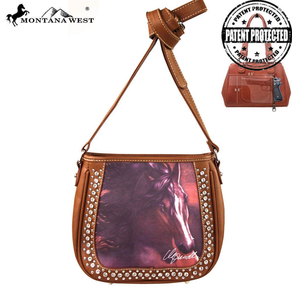 Montana West Horse Art Concealed Messenger Bag, Laurie Prindle Collection (MW155G-8360)