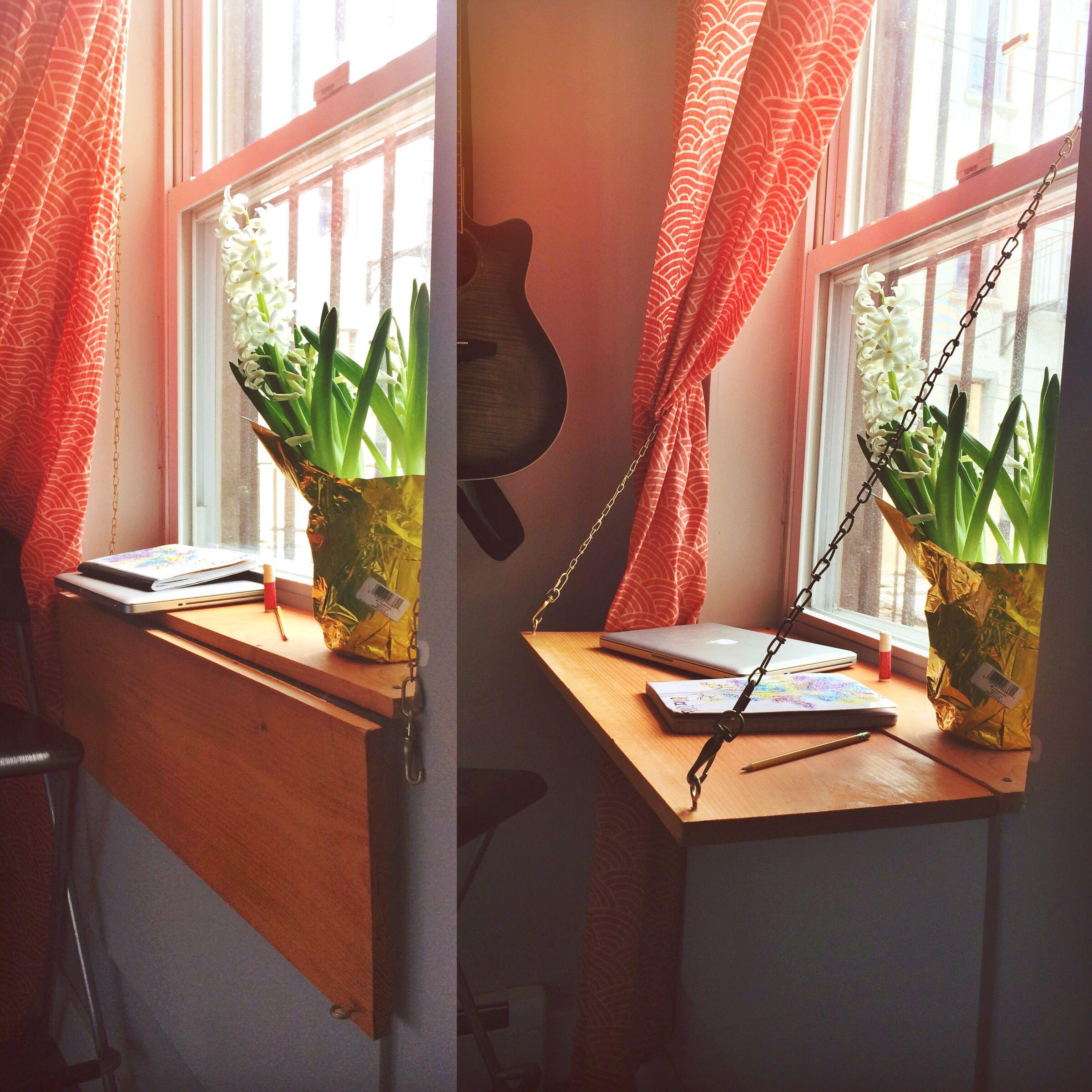 Look At The Window Sill Desk I Built In My Brooklyn Bedroom It Looks Out To My Backyard Where A Kickass Garden Wil Window Desk Bedroom Windows Bedroom Layouts