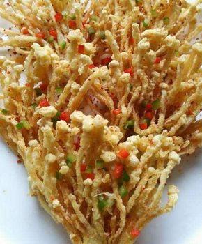 Jamur Enoki Digoreng Kering Sudah Merupakan Lauk Yang Cukup Sering Ditemukan Dan Dimasak Oleh Ibu Ibu Masakan Vegetarian Resep Makanan Cina Resep Masakan Cina