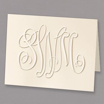 Large Embossed Monogram Folded Note