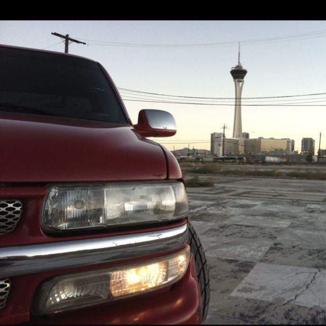 R. Brizeno's Silverado with the Vegas skyline in the background