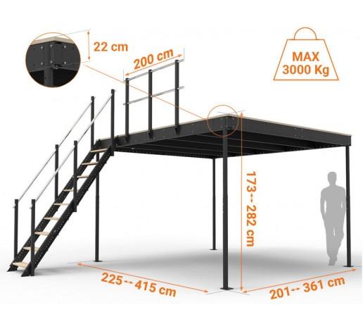 Lagerbühne TM 15 mit gerader Treppe M