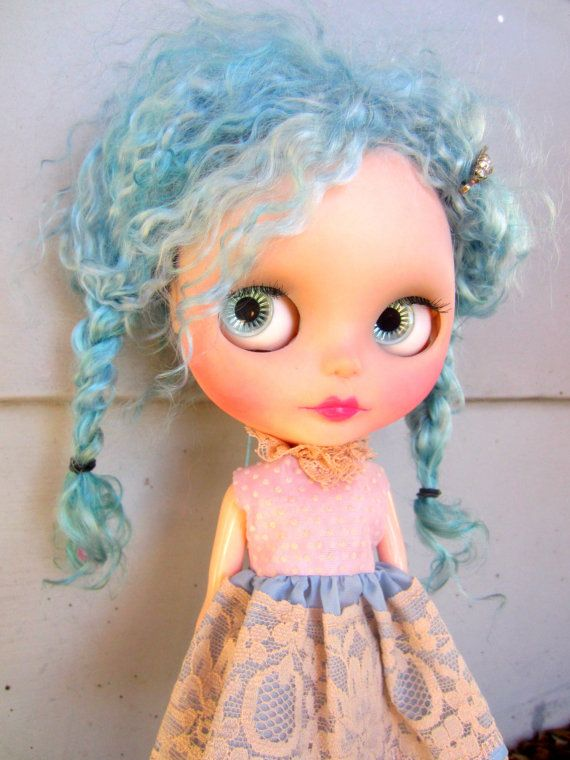 Starla Blue Mohair Rerooted Custom TBL Blythe Doll by shepuppy, $575.00