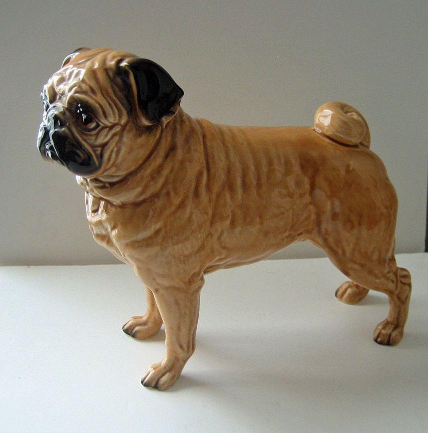 Vintage Porcelain Pug Dog Figurine Shafford Japan Dog