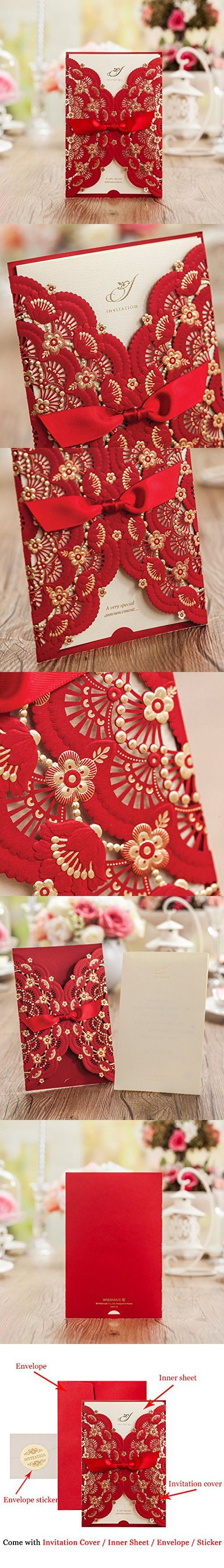 Red Lace Flower Invitation Cards Laser Cut Hollow-Out Floral with ...
