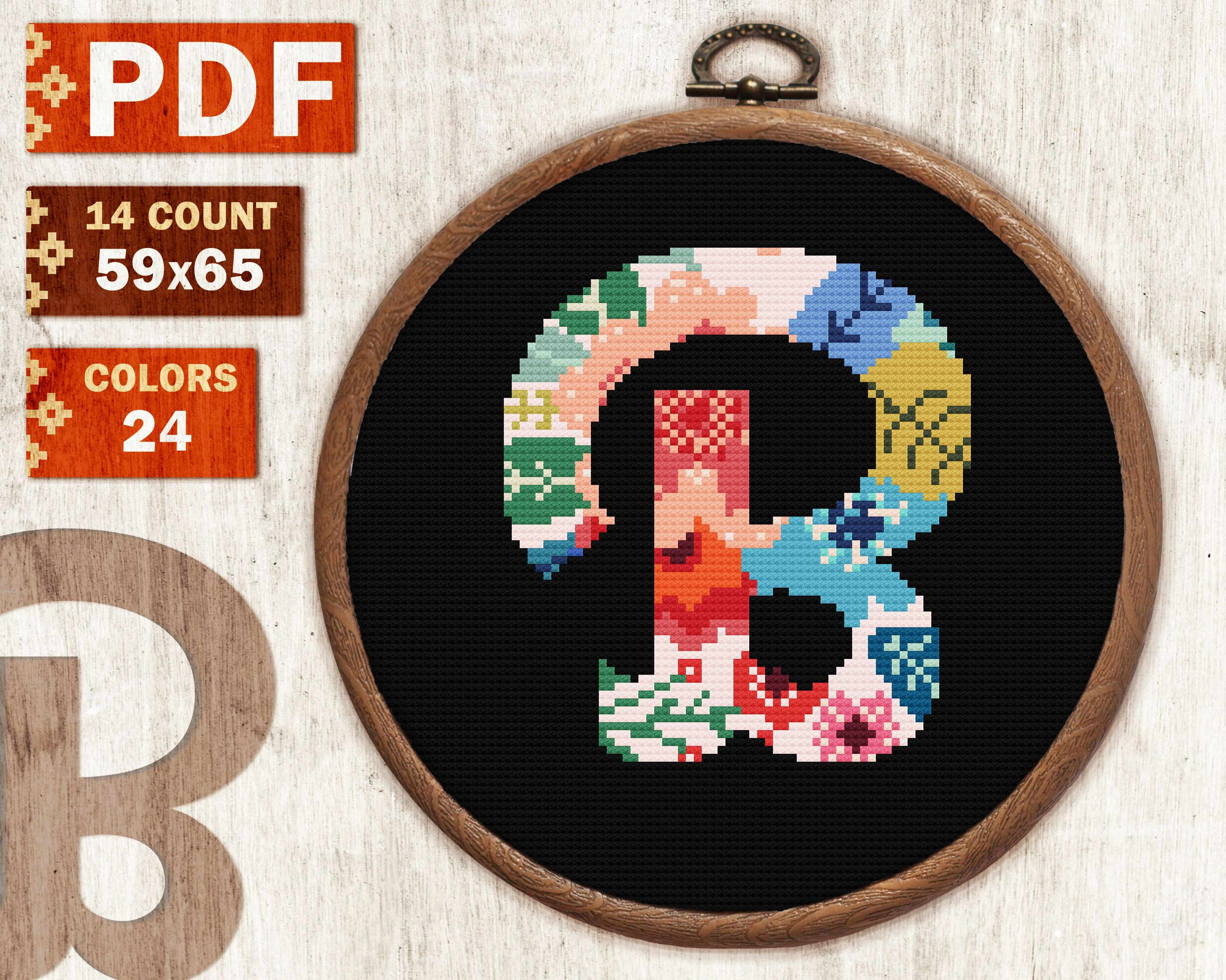 Floral Letter B Alphabet Series Cross Stitch Pattern