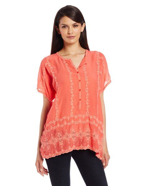 Johnny Was Women's Boxy Placket Top