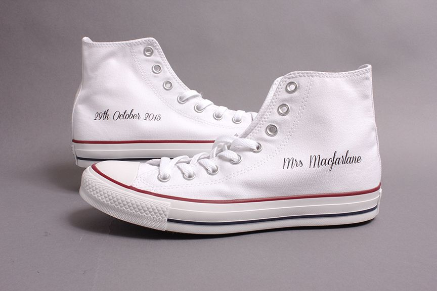 e8a499c8cec2 Wedding Converse - Awesome High Tops with brides new Mrs name and wedding  date!