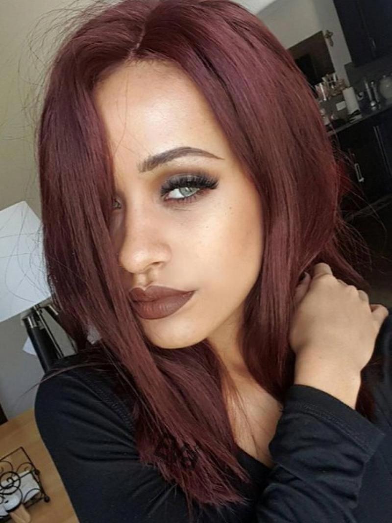 Pinterest Hot Style Medium Shoulder Length Blunt Hair Ends Custom Virgin Hair Full Lace Wig Magenta Hair Magenta Hair Colors Curly Hair Styles