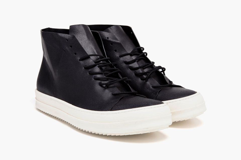 Rick Owens Black Leather High-Top Trainers • Highsnobiety