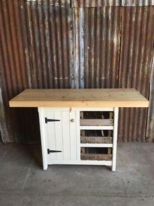Kitchen Island Cupboard Drawers Breakfast Bar Storage Unit Rustic Solid Pine Ebay