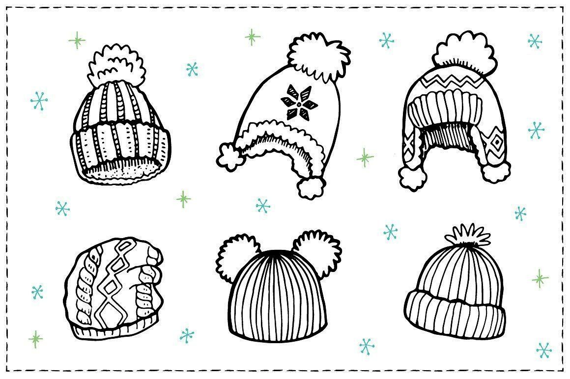 Clothes sketch set by Hala on Creative Market   Winter Clothes sketch set by Hala on Creative Market    Bright winter knitted hat with pompon sketch style vector illustra...
