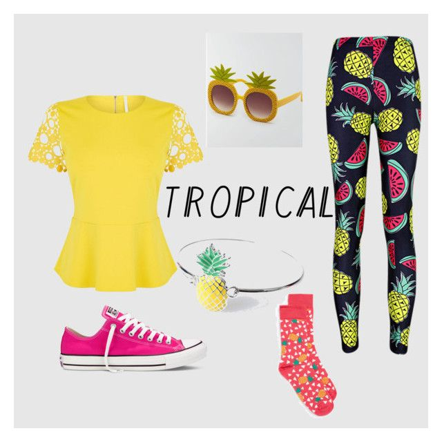 """Tropical prints "" by jennamaeve3 on Polyvore featuring Converse, Karen Millen, Topman, tropicalprints and hottropics"