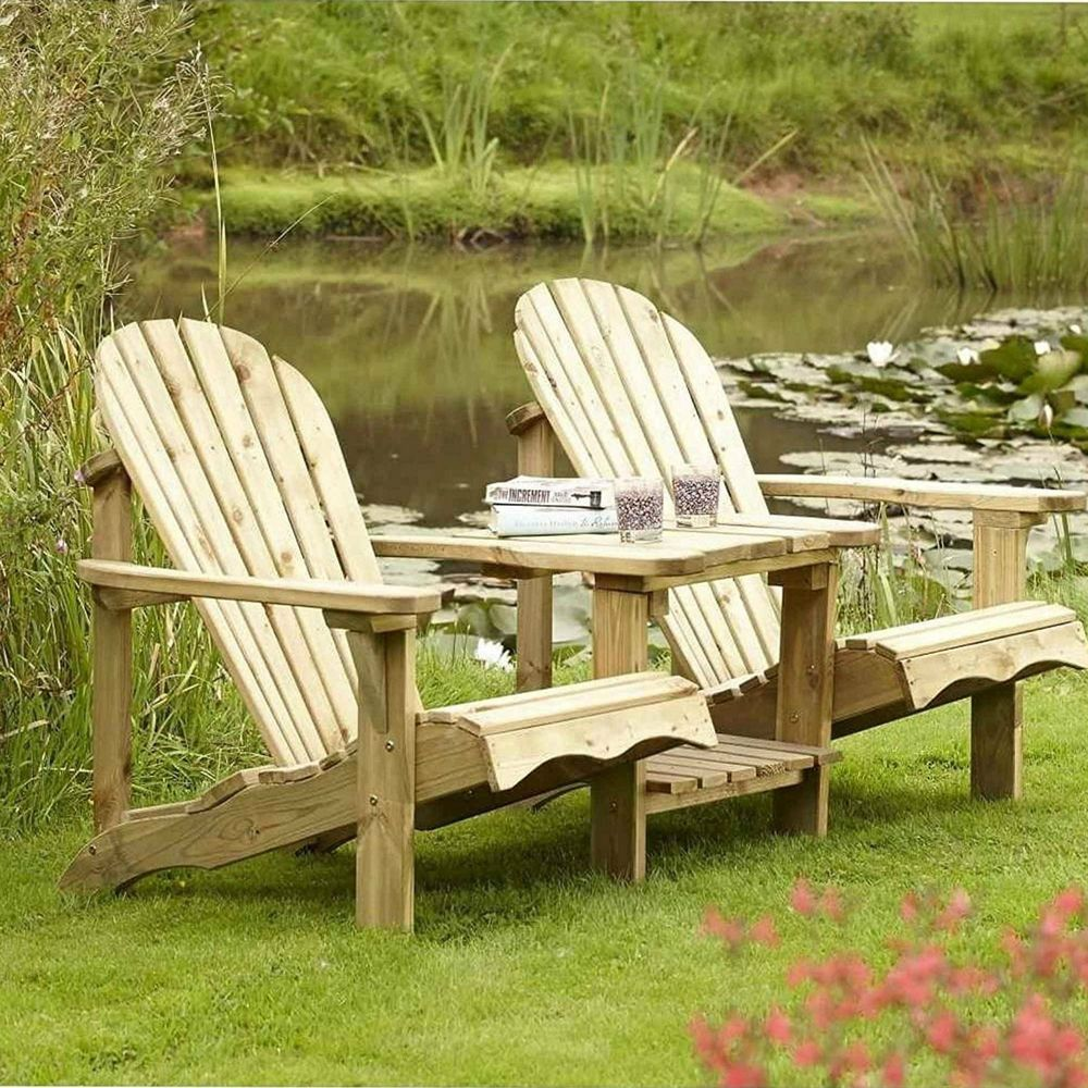 details about outdoor 2 seater natural wood love seat patio chairs wooden garden furniture