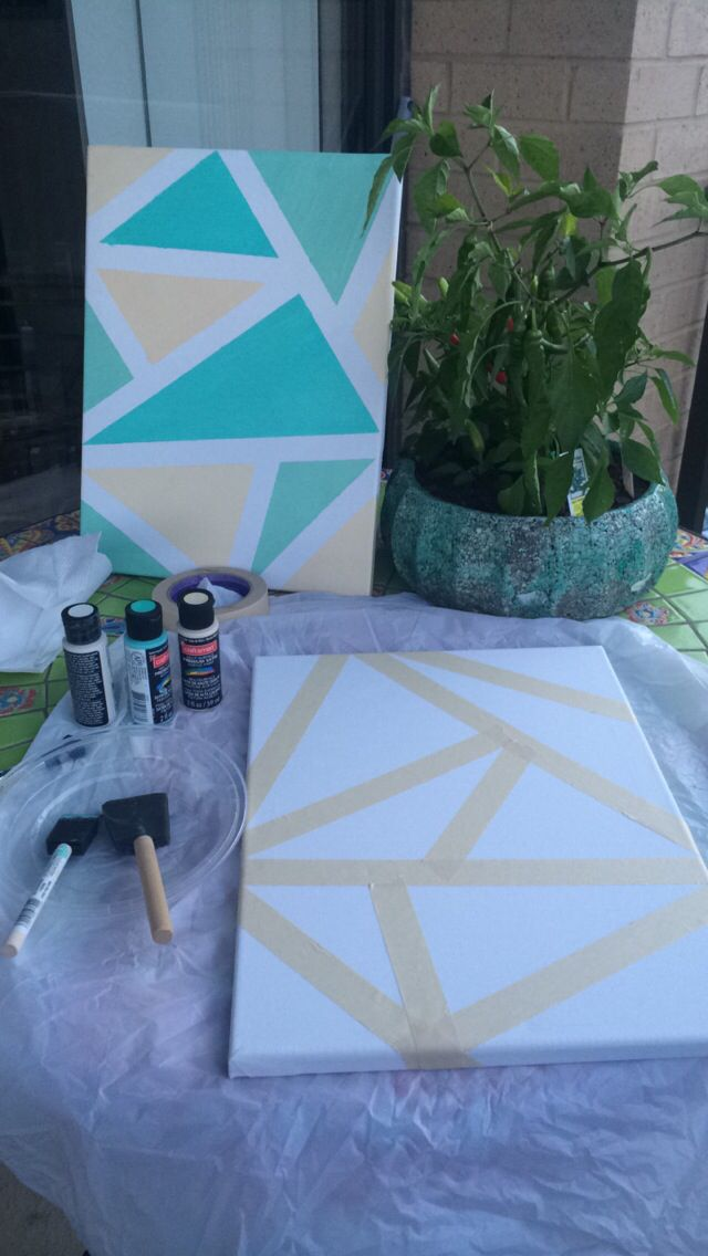 Easy Diy Canvas Wall Decor Using Painters Tape Or Masking Tape Acrylic Paint And A Sponge Brush Canvas Painting Diy Diy Canvas Canvas Wall Decor