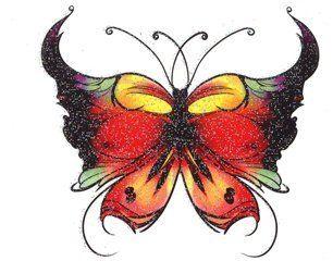 multi color butterfly glitter temporaray tattoo by tattoo fun 495 multi colored - Color Butterfly 2