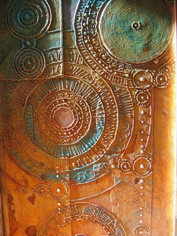 peint relief sur papier colé sur bois, env 1m x 40 (8) (With images) | Plaster art, Spiral art ...